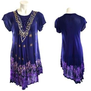 Purple Boho Asymmetrical Gypsy Dress Med